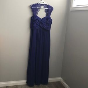 Blue lace shoulder floor length evening dress